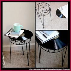 Dollar Store Crafter: Turn An Old Vinyl Record Into A Cute Side Table
