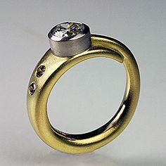 18K yellow, 14k palladium bezel  diamond ring by  Andy Cooperman