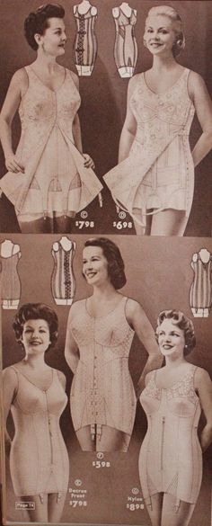 History of plus size fashion & clothing. Vintage tips for dressing your body. Links to plus size dress and clothes plus size lingerie: corsets Lingerie Retro, Jolie Lingerie, Plus Size Lingerie, White Lingerie, Vintage Girdle, Vintage Underwear, Vestidos Vintage, Vintage Dresses, Vintage Outfits