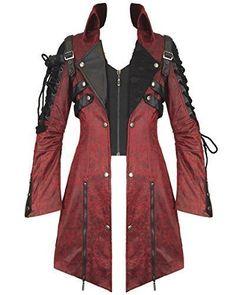 Punk Rave Poison Jacket Mens Red Black Faux Leather Goth Steampunk Military Coat by Punk Rave Steampunk Jacket, Steampunk Fashion, Gothic Fashion, Style Fashion, Steampunk Costume, Fashion Tips, Cheap Fashion, Fashion Women, Fashion Brands