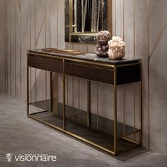 This exceptional Italian Banner Console has its structure in high quality Ash wood with matt finish, and top in the elegant Arabescato Orobico Grigio marble. Designer console with two drawers in wood, matching the structure, carved in low relief with str Entry Table With Mirror, Home Furniture, Furniture Design, Metal Furniture, Luxury Italian Furniture, Living Room Plants, Home Bar Designs, Contemporary Interior, Living Room Designs
