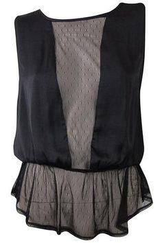 Delicate Satin & Mesh Peplum Blouse - Black #shoppitaya