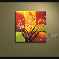 Stunning Wall Decorating Ideas Oil Painting On Canvas For Bed Room Orchid. This 1 panel canvas wall art is hand painted by Anmi.Z, instock - $78. To see more, visit OilPaintingShops.com