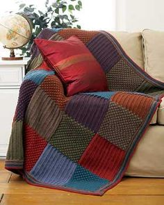 Gorgeous Harvest Blanket in alternating squares of rich, jewel-like autumnal tones. Measures approx. 45
