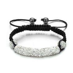 White Pave Crystal Beads Bracelet