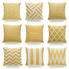 Cheap cushion cover, Buy Quality sofa cushion cover directly from China decorative throw pillows case Suppliers: Decorative Throw Pillow Case Mustard Yellow Geometric Striped Zigzag Chevron Cotton Linen HEAVY WEIGHT FABRIC Sofa Cushion Cover Yellow Couch, Yellow Throw Pillows, Gold Pillows, Diy Pillows, Bedroom Yellow, Yellow Cushions, White Decorative Pillows, Decorative Pillow Cases, Throw Pillow Cases