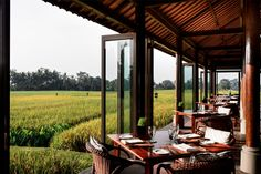 The Restaurant overlooking the rice paddies at The Chedi Club at Tanah Gajah #Ubud #Bali