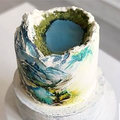 Amazing cake by this cake is so stunning! Pretty Cakes, Cute Cakes, Beautiful Cakes, Amazing Cakes, Crazy Cakes, Fancy Cakes, Decoration Patisserie, Dessert Decoration, Mountain Cake