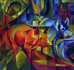 Obra expresionista de Frank Marc. Cerdos expresionistas