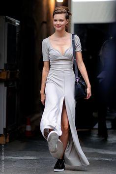 long dress & kicks. #LindseyWixson #offduty in Milan.