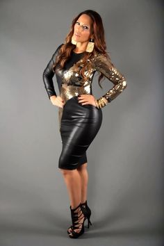 Black Faux Leather Gold Sequins Long Sleeve Sexy Party Dress