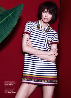 --note models hands ------ -With her arms crossed, Rianne Ten Haken poses in Tommy Hilfiger striped shirt dress