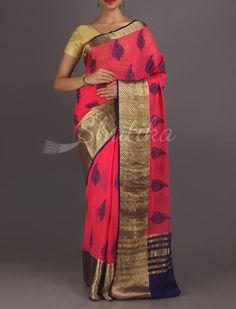 Aadhya Peepal Leaves Broad Gold Border Pure #MysoreChiffonSaree