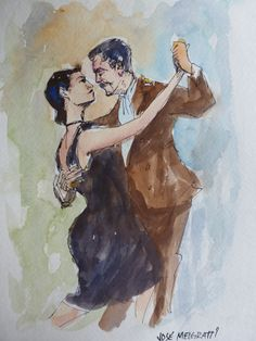 Tango Antiguo Original Watercolor & Indian Ink Painting on 140 Lb acid free cold press watercolor paper. By J. Melgratti SOLD
