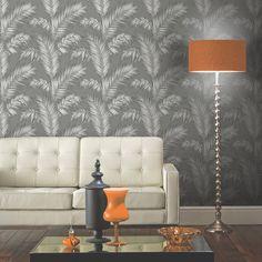 Arthouse Ardita Leaf Glitter Wallpaper - Gunmetal - http://godecorating.co.uk/arthouse-ardita-leaf-glitter-wallpaper-gunmetal/