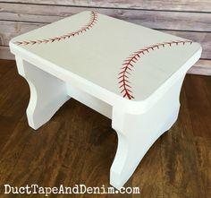 Finished wood baseball stool | DuctTapeAndDenim.com