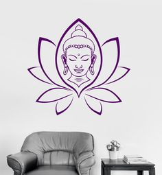 Wall Vinyl Decal Buddha Yoga Lotus Meditation Decor by BoldArtsy
