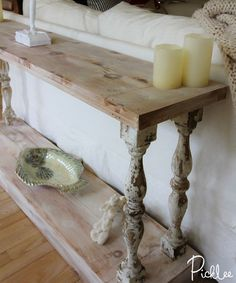 French Country Sofa Table - Absolutely Love this and have been wanting a sofa table forever!DIY French Country Sofa Table - Absolutely Love this and have been wanting a sofa table forever! Farmhouse Sofa Table, Diy Sofa Table, Sofa Tables, Farmhouse Furniture, Shabby Chic Furniture, Diy Couch, Dyi Console Table, Rustic Furniture, Couch Sofa
