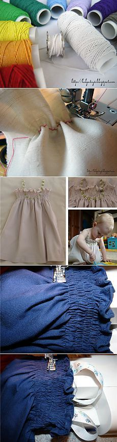 Sewing. Using thread-gum to create folds in the fabric + children sundress with an elastic band. Master classes.