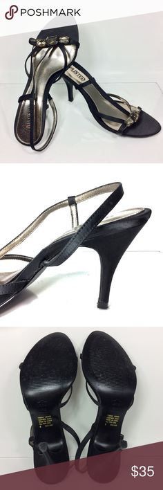 """UNLISTED by KENNETH COLE Black 4"""" Slingback 8 Glamorous and strappy with 4"""" heel, satin-finished upper, satin toe and heel, emerald-cut triple-topaz toe strap, golden footbed, leather sole. Like-new, minor sole wear, small separation of liner at arch. Perfect pairing for party time! Unlisted Shoes Heels"""