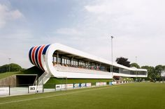 LIAG architecten: sportscomplex strijp - view of the bleachers & field