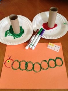 Very Hungry Caterpillar with toilet paper rolls.  This post has little more than this picture, but what a great way for students with motor challenges can participate in an art project with increased independence.
