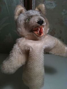 VTG LOOPY WOLF HAND PUPPET W/BUTTON NO TAG MOHAIR STEIFF PUPPET #STEIFF