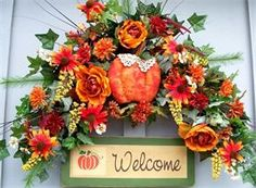Welcome - Timeless Floral Boutique Fall Swags, Fall Wreaths, Diy Wreath, Wreath Ideas, Floral Swags, Floral Wreath, Welcome Fall, Xmas Decorations, Fall Crafts