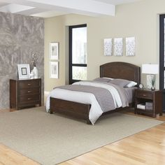 Home Styles Crescent Hill Queen Bed, Night Stand, & Chest, Brown