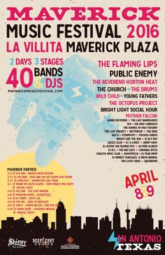 """April 8-9, 2016 @ La Villita - """"Maverick Music Festival 2016"""" featuring The Flaming Lips 