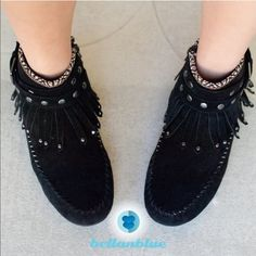 The GEMMA fringe Booties - BLACK HPx4 -Which girl doesn't like Mocassins? Super fun fringe & studs make this adorable shoe super darling. Vegan suede. Super versatile. Can be worn with almost any outfit. ‼️NO TRADE, PRICE FIRM‼️ PLEASE DON'T BUY THIS LISTING. I will make a new one for your size preference. 5, 5.5, 6, 6.5, 7,  AVAILABLE IN WHISKEY & BLACK Shoes
