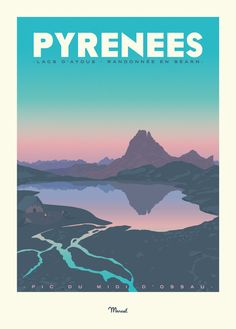 "Pyrenees poster ""Lakes of Ayous"" - - Images Vintage, Retro Vintage, Vintage Kitchen, Art Deco Posters, Poster Prints, Retro Posters, Art Et Design, Graphic Design, Canvas Art Projects"