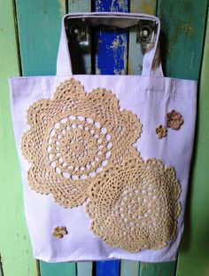 Doily Tote Bag. $18.00 by button bird designs