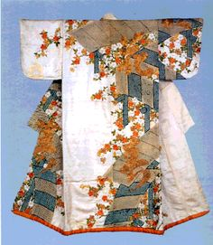 Kosode with design of plank bridges, cherry blossoms and Chinese characters Tie-dyeing and embroidery on white figured silk satin (rinzu) this kosode pattern arrangement is so unique, we now call it Kambun pattern or Kambun kosode.