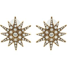 Elizabeth Cole Antiqued Gold Starburst Earrings (180 CAD) ❤ liked on Polyvore featuring jewelry, earrings, gold, gold jewelry, gold earrings, elizabeth cole, elizabeth cole jewelry and swarovski crystal jewelry