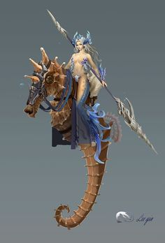 Sea nymph and her mount Magical Creatures, Fantasy Creatures, Sea Creatures, Fantasy Character Design, Character Concept, Character Inspiration, Fantasy Mermaids, Mermaids And Mermen, Fantasy Races