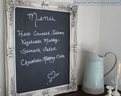 """diy chalkboard for only $10! I had no idea there was such thing as chalk paint! Add that to my """"things Pinterest has taught me"""" list!"""