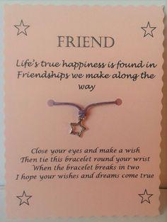 Friend gift, Friend Wish Bracelet, Friendship bracelet, Charm bracelet, String Wish Bracelet, Cord Wish Bracelet, Keepsake, Quote Jewellery