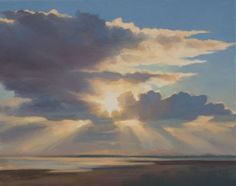Oil painting of sky clouds and sun over Tentsmuir Beach