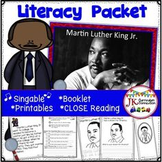 This packet comes LOADED with activities to celebrate Martin Luther King Jr.! Close Reading passages recount important events in his life. Response sheets will give students practice in reading for details. There is also a singable Shared Reading song/book that uses photographs to recount highlights of his important life.