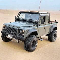 The Dune Racer @roversquad :@romair4  Follow us ---> @dailyoverland  @landrover  #DefenderSeries... Landrover Defender, Land Rover Defender 130, Defender 90, Jeep Truck, Pickup Trucks, Offroad, Automobile, Expedition Vehicle, Four Wheel Drive