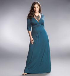 The tempted teal color of Desert Rain Maxi by Kiyonna is perfectly cool and refreshing.  #plussize
