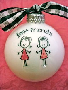 Best Friends Ornament  Hand Painted and by HappyYouHappyMe on Etsy, $16.50