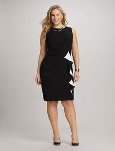 Plus Size Ruffle Sheath Dress