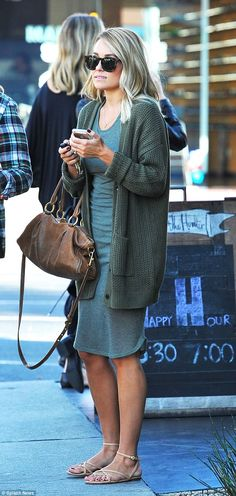 Lauren Conrad wore a ribbed dress and a thick knit cardigan to run errands in LA http://dailym.ai/1nARG8R