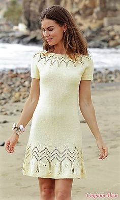 Embrace of the Sun / DROPS - Dress with lace pattern round yoke and short sleeves, worked top down. Sizes S - XXXL. The piece is worked in DROPS Muskat. Design 2018 Embrace of the Sun / DROPS - Free knitting patterns by DROPS Design Knit Skirt, Knit Dress, Lace Dress, Lace Knitting, Knitting Patterns Free, Knitting Dress Pattern, Free Pattern, Pattern Skirt, Lace Patterns