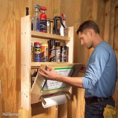 Organize your auto lubricants, fluids and other items in this simple shelf/work table cabinet. You can mount a fold-up door on special hinges, but we'll show you a faster method that requires just a couple of bucks' worth of hardware. Find everything you need to know to build this cabinet here.