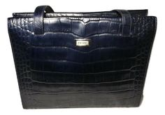 ESCADA Croc Embossed Leather Satchel Dark Blue Handbag #ESCADA #Satchel Black Leather Tote, Leather Satchel, Patent Leather, Blue Handbags, Leather Handbags, Large Shoulder Bags, Satchel Purse, Shop Usa, Designer Bags