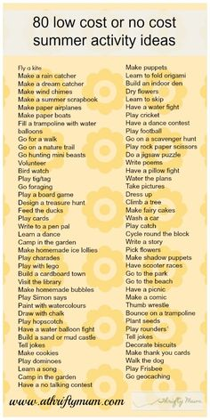 Summer activities----need to compare this to my other lists :)
