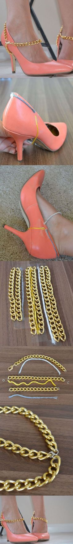 DIY: Jewelry Chains Cool Ideas: when I cud where heels I loved an ankle strap.. this is way more cool   :)